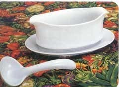 Porcelain Gravy Boat and Stand