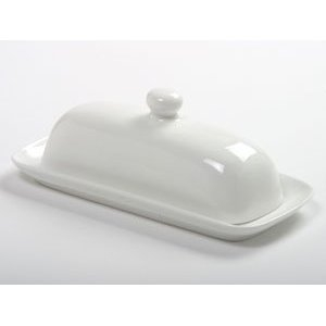 White Porcelain Butter Dish with Handle